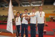 Infantis masculinos, 3.º lugar no Nacional de Duplo Mini Trampolim